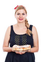 Happy woman with sweet strudel