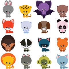 Vector set of little cute animals