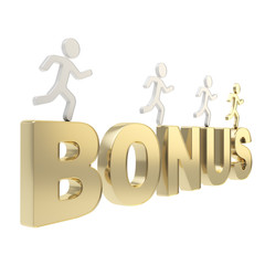 Human running symbolic figures over the word Bonus
