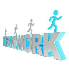 Human running symbolic figures over the word Teamwork