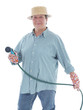 Senior gardener with garden hose
