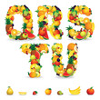 Colorful Letters from Fruit and Berries. Clip Art
