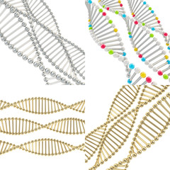 DNA structure background, set of four