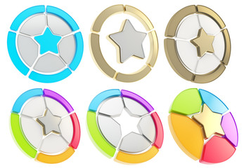Star icon emblem isolated over white