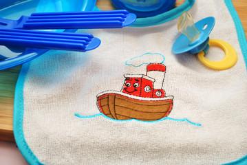 Tug Boat on a Baby Bib