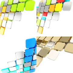 Dimensional square plate background composition