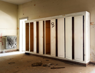 old destroyed building,hall with cabinets