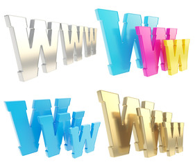 World wide web www glossy letter symbol