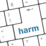 harm word on computer pc keyboard key poster