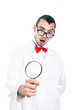Shocked scientist with magnifying glass