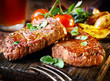 canvas print picture - Succulent fillet steak and roast vegetables