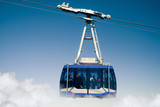 mountain lift (funicular) above the clouds