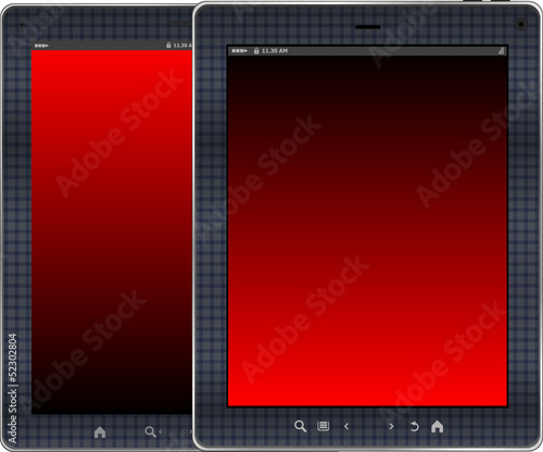 Photo-realistic red colored vertical tablet pc set