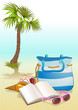 seaside summer holiday background with book