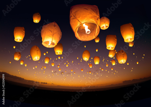 Fridge magnet Flying Chinese Lanterns
