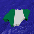 Nigeria map flag in abstract ocean illustration