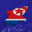 North Korea map flag in abstract ocean illustration