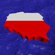 Poland map flag in abstract ocean illustration