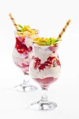 Tasty food. A Strawberry cocktail with ice cream. High quality i