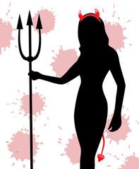 silhouette of a female devil