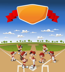 Team of cartoon children playing baseball on green field