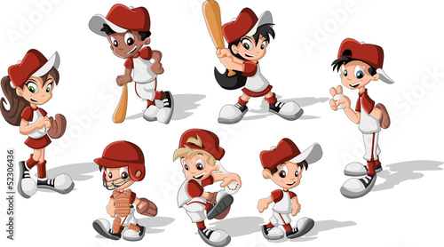 Cartoon children wearing baseball uniform