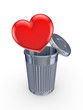 Red heart in recycle bin.