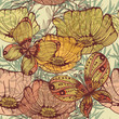Vintage seamless background with flowers and butterflies. Eps10