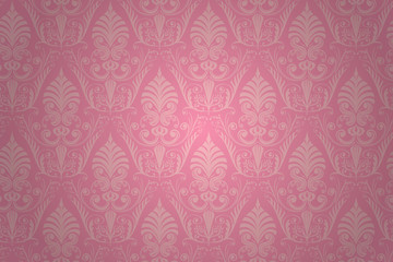 Damask seamless pattern. Vector wallpaper background.