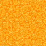 Orange abstract doodle flowers seamless pattern