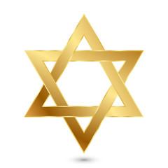 Vector illustration of golden Magen David (star of David)