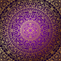Vector oriental purple background with gold ornament
