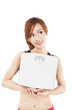 young woman holding weight scale and looking something