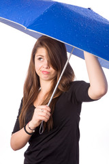 girl with wet umbrella