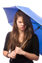 angry girl with umbrella