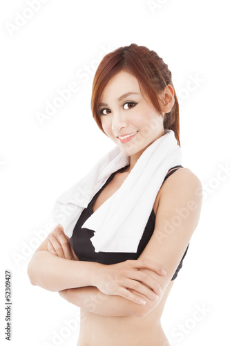 smiling sporty young asian woman