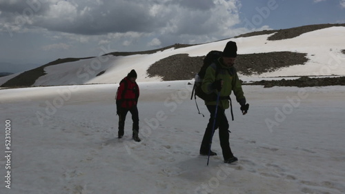 Climbers walking on snowy mountain