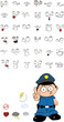 funny kid cartoon policeman set5