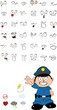 funny kid cartoon policeman set4