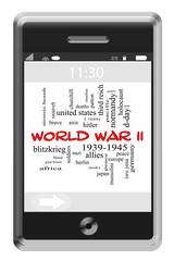 World War II Word Cloud Concept on Touchscreen Phone