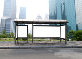 Bus stop billboard on stage .