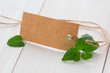 leaves of fresh mint with blank tag on wooden background