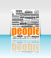 business marketing communication word. flyer or presentation