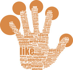 Like hand symbol with tag cloud of word