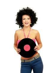 woman in afro wig holding vinil disc