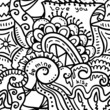 Black and white  crazy seamless pattern, vector background.
