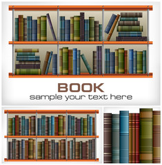 Books on shelves & text