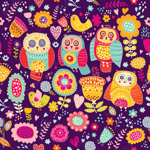 Sticker Seamless vector pattern with cheerful cute owls