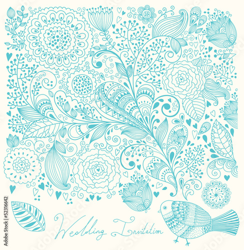 Wedding invitation. Flower pattern