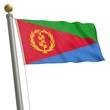 Die Flagge von Eritrea flattert am Fahnenmast